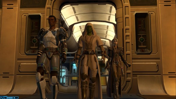 My Jedi consular and his closest companions in Star Wars: The Old Republic