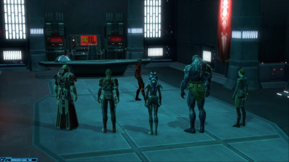 My Sith inquisitor and his companions in Star Wars: The Old Republic