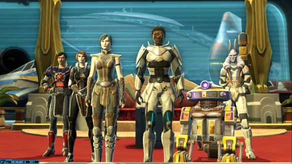 My Jedi knight and his companions in Star Wars: The Old Republic