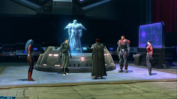 My Sith warrior and his companions in Star Wars: The Old Republic