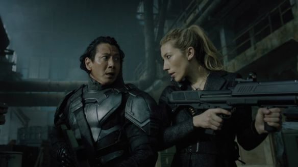 Kovacs and his sister in one of Altered Carbon's flashback sequences