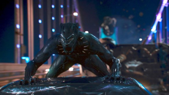 An action scene from Black Panther