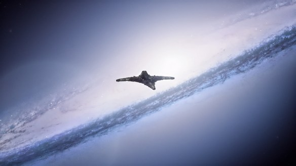 The Destiny flies between galaxies in Stargate: Universe