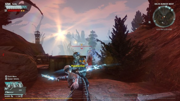 Wielding a charge blade in the MMO shooter Defiance