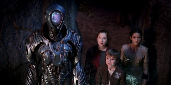 The robot and the Robinson children in Netflix's Lost in Space reboot
