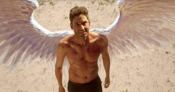 Lucifer with his renewed wings in season three