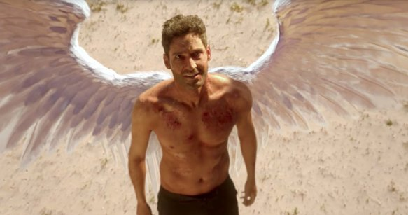 Lucifer with his renewed wings in season three