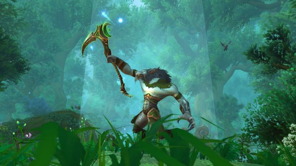 My druid posing with the Scythe of Elune in World of Warcraft: Legion