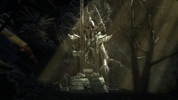 A grim statue in the Nathema Conspiracy flashpoint in Star Wars: The Old Republic
