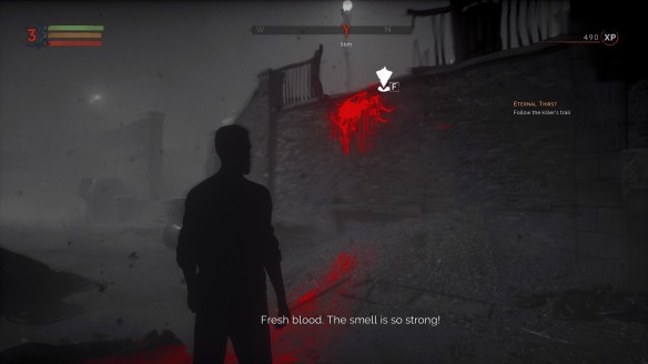 Using vampiric senses to track a blood trail in Vampyr