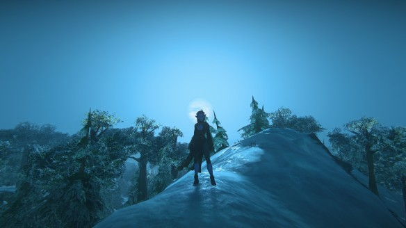 My avatar silhouetted against the moon in the dearly departed Landmark