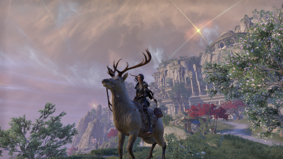 My Bosmer shows off her elk mount on the mystic isle of Artaeum in Elder Scrolls Online
