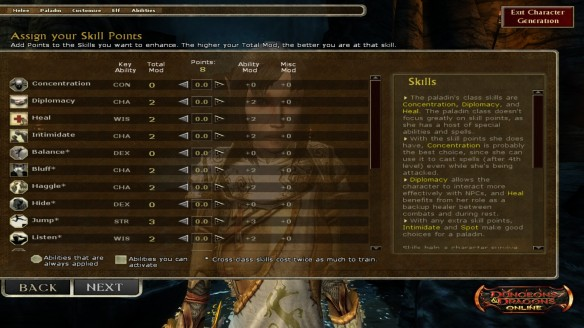 A skill sheet in Dungeons and Dragons Online