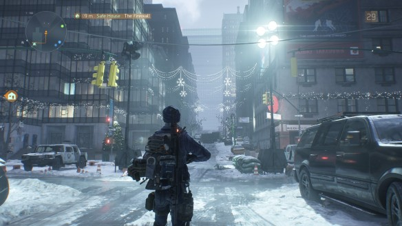 A picturesque scene of Christmas lights in Tom Clancy's The Division
