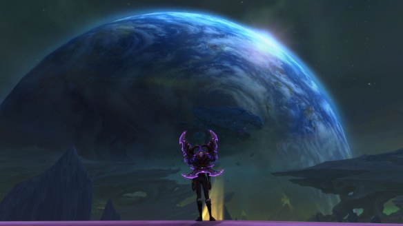 The view of Azeroth from Argus in World of Warcraft