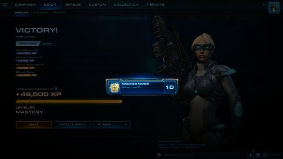 Hitting level ninety mastery in StarCraft II co-op missions