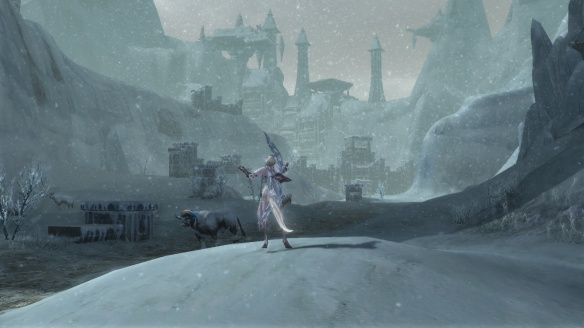 My Asmodian ranger enjoys the snow in Aion