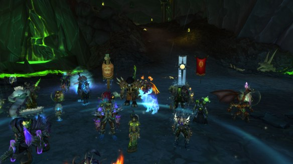 A raid group in World of Warcraft