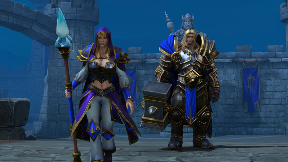 Arthas and Jaina in a cutscene from Warcraft III: Reforged