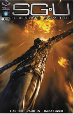 Cover art for an issue of the Stargate: Universe comics