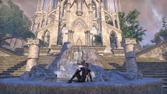 My sorcerer in her Grand Psijic Villa home in Elder Scrolls Online