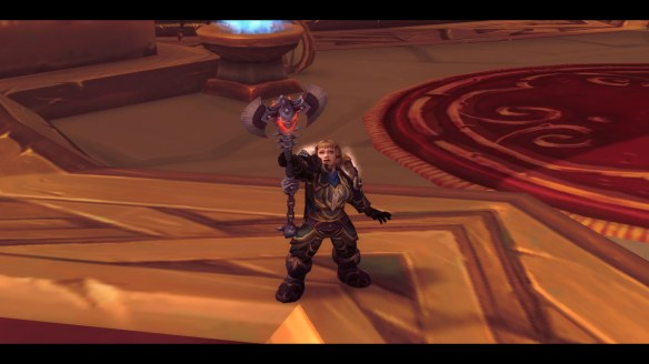 My Dwarf warrior receives the hidden artifact appearance for Strom'kar, the Warbreaker in World of Warcraft