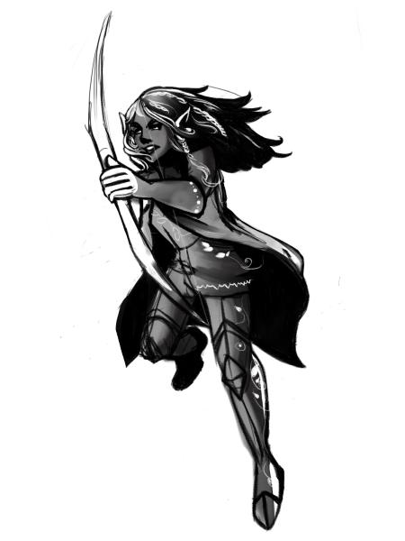 Artwork of my D&D character, Maigraith Numin, by Jennifer Luu
