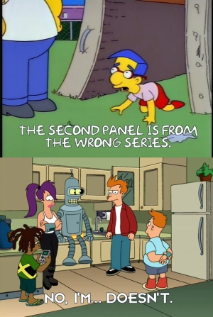 One of my Simpsons memes, featuring a Futurama crossover.