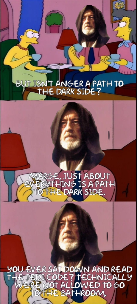 A Simpsons/Star Wars crossover meme.