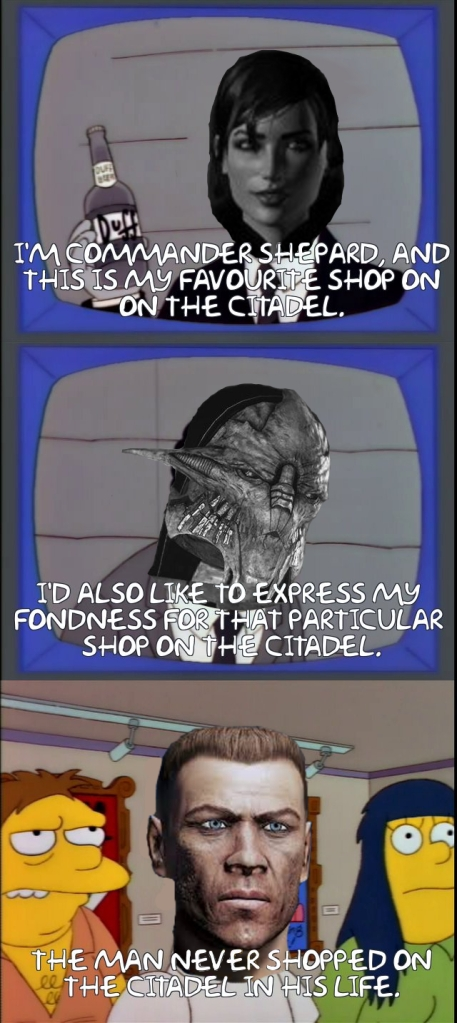 A Simpsons/Mass Effect crossover meme.