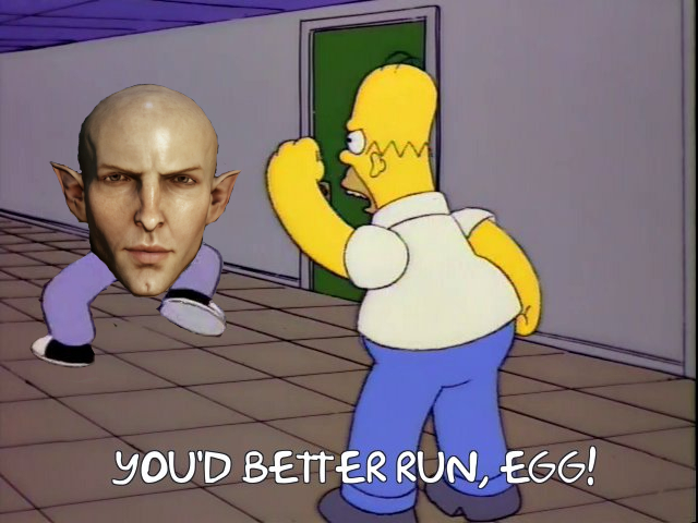 A Simpsons/Dragon Age crossover meme.