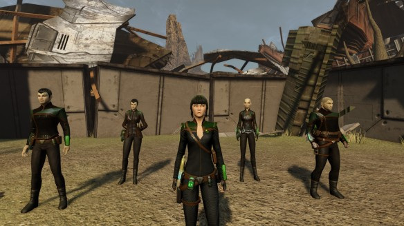 My Romulan engineer and her bridge crew in Star Trek Online.