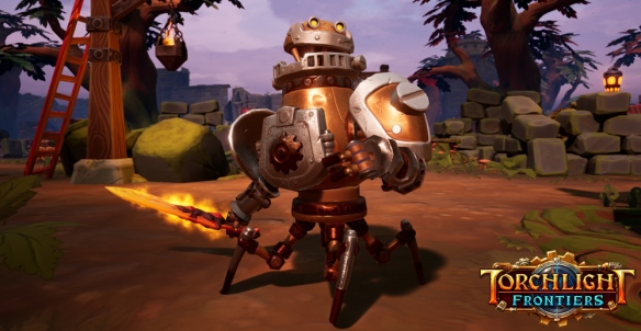 A promotional shot for upcoming action MMO Torchlight: Frontiers.