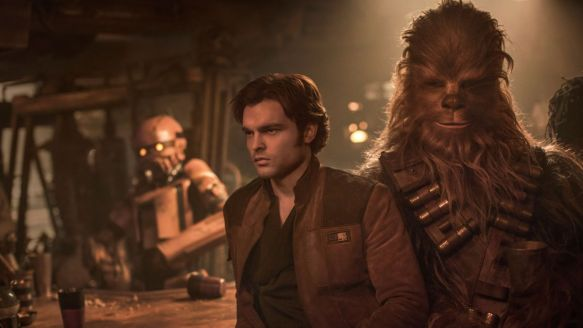 Han Solo and Chewbacca in Solo: A Star Wars Story.