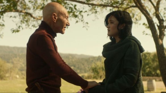 Jean-Luc Picard and Dahj in Star Trek: Picard.