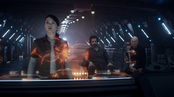 Soji, Rios, and Picard on the bridge of La Sirena in Star Trek: Picard