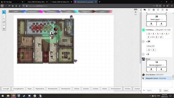 Playing Dungeons and Dragons via Roll20.