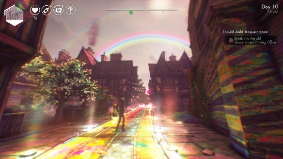 The world seen through the lens of Joy in We Happy Few.