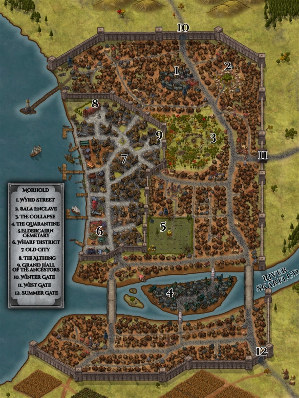A map of Morhold, the main city from Wyrd Street, created with Inkarnate.